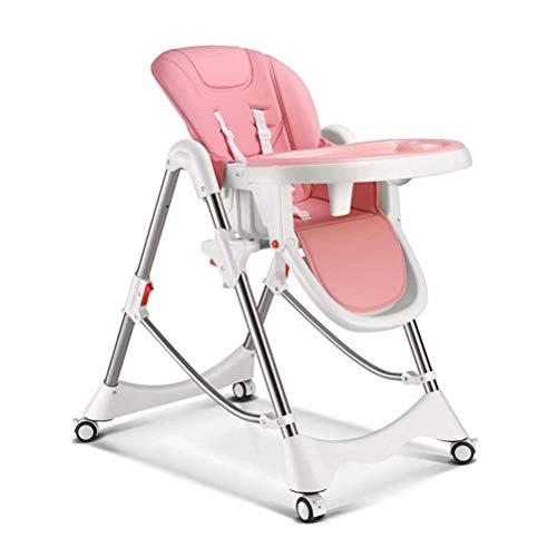 Stuhle Tragbare Multifunktionsbabyhochstuhl, Babyfütterung, Bremsenfußrolle, Füttern Tabellen-Behälter, Gepolsterte Sitz (Color : Pink)