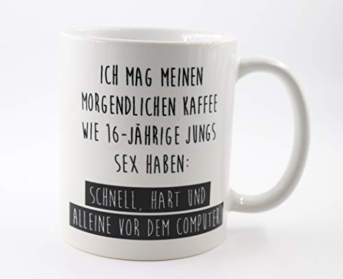 PICSonPAPER Tasse mit Spruch Ich mag Meinen morgendlichen Kaffee, Geschenk, Kaffeetasse, Keramiktasse, Tasse mit Grafik (Morgendlich)