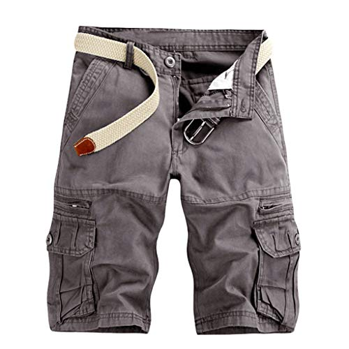VEKDONE Men's Outdoors Cargo Shorts Casual Lightweight Multi-Pocket Stretchy Cotton Twill Camo Shorts Pants Male(Dark Grey,Size 38)