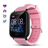 GOKOO Smartwatch Deporte para Hombre Mujer Impermeable Reloj Inteligente con Monitore de Actividad Monitor de Frecuencia Cardiaca Podómetro Monitor de Sueño Multifunción para Android e iOS (Rosa)
