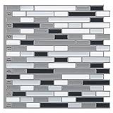 Art3d 12' x 12' Peel and Stick Tile Kitchen Backsplash Sticker Gray Brick (6 Tiles)