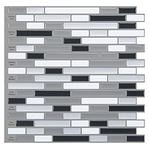 Art3d 10-Piece Stick on Backsplash Tile for Kitchen/Bathroom, 12' x 12' Gray-White Tile