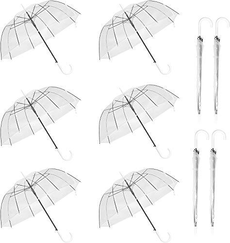 WASING 10 Stücke 46Inch Transparent Regenschirme Automatischer Starker Winddichter Dome Birdcage Regenschirm Modischer Klar Umbrellas mit Weißer J-Griff Draussen Foto Shooting für Braut Hochzeit