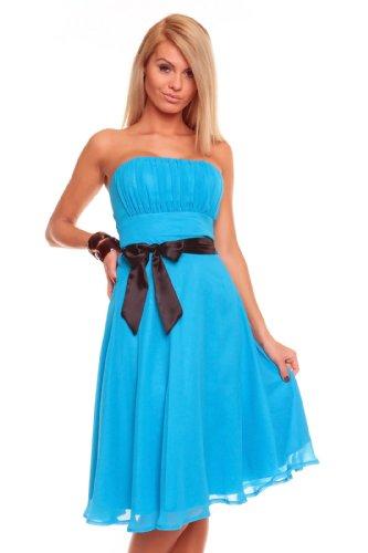 Sexy Damen Bandeau Kleid Glamour Cocktailkleid Abendkleid Chiffon Brautjungfernkleid 181 (XL,...