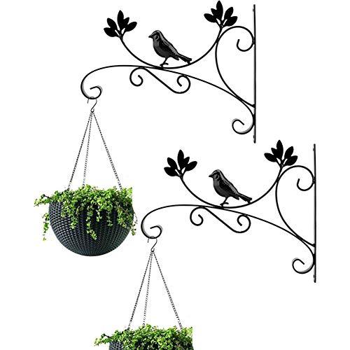 Staffe per Cesto Appese Ganci per Fioriera Parete 31.5cm, 2 Pezzi Ganci per Piante Ferro Nero Staffe A Parete per Vaso Fiori Mangiatoia per Uccelli Lanterne Vento Lanterne Patio Interno Esterno