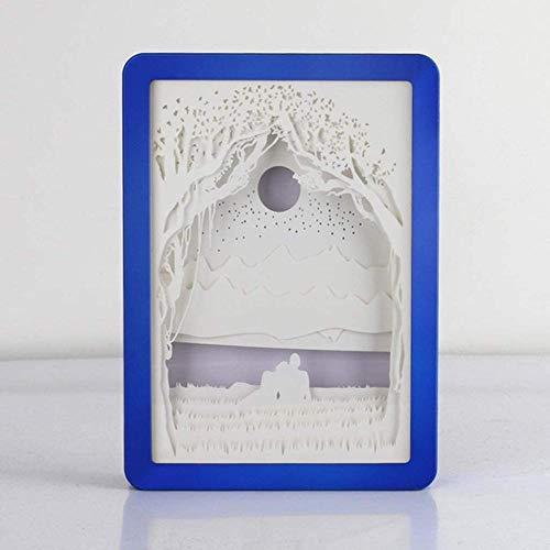 GEZHF Caja de arte tallada en 3D, luces nocturnas, pinturas creativas de sombra con USB, regalo para el día de San Valentín (color azul), azul