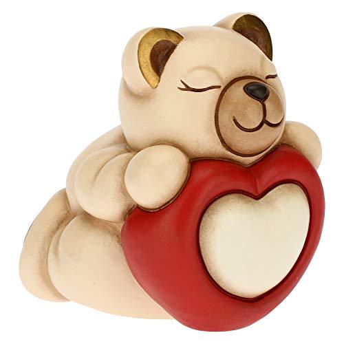 THUN - Soprammobile Tina con Cuore e Scatola in Latta - Idea Regalo Giorno degli Innamorati - Accessori per la Casa - Linea Tell Me Your Love - Ceramica e Latta - 9,7 x 7,5 x 9,6 h cm