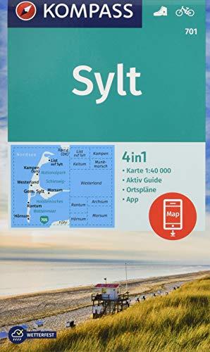 KOMPASS Wanderkarte Sylt: 4in1 Wanderkarte 1:40000 mit Aktiv Guide und Ortsplänen inklusive Karte zur offline Verwendung in der KOMPASS-App. Fahrradfahren. (KOMPASS-Wanderkarten, Band 701)