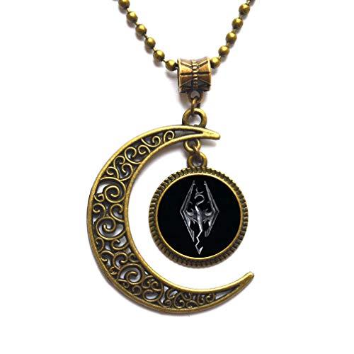 Colgante de cúpula de cabujón hecho a mano con emblema de Skyrim inspirado, cabujón de cristal, regalo de Navidad, collar de joyería de S, PU204