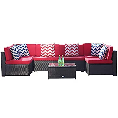 U-Eway 7 Piece Outdoor Patio Furniture Sectional Sofa Sets,Conversation Set Patio Furniture PE Rattan Manual Wicker Conversation Set with Washable Cushions and Glass Table,Outdoor Sofa (Red)