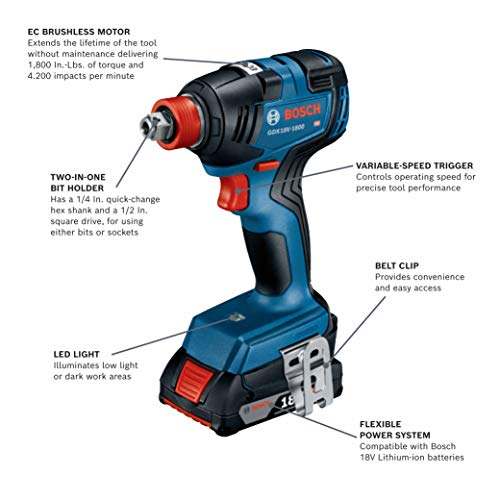 Bosch GXL18V-240B22 18V 2-Tool Combo Kit with 1/2 In. Hammer Drill/Driver, Freak 1/4 In. and 1/2 In. Two-In-One Bit/Socket Impact Driver and (2) 2.0 Ah SlimPack Batteries