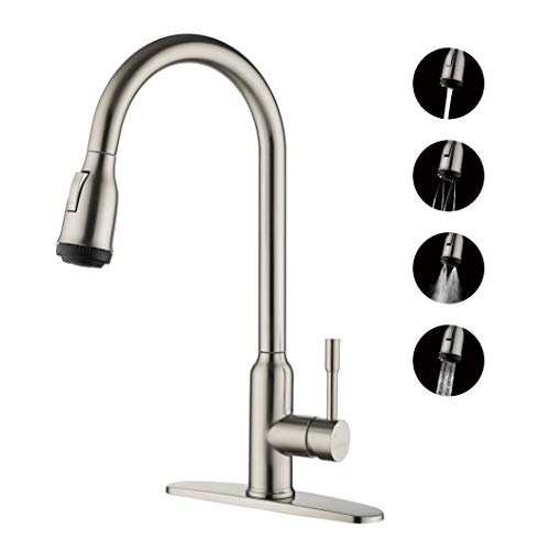 DICOYA Kitchen Sink Faucet, 4 Function Sprayer, Power Rinsing, Easy Clean, Water Saving, 304 Stainless Steel Kitchen Faucets, Single Lever, ,Gooseneck, High Arc, with Escutcheon, Brushed Nickel