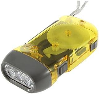 SODIAL(R) Luz de antorcha Linterna de enrollado dinamo de 3 LED Manivela manual NR Camping