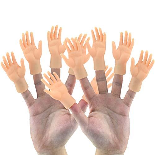 Dowoa 10 Stück Fingerpuppe Mini Finger Hände Lustige Handpuppe für Spiel Halloween Weihnachten Handzubehör