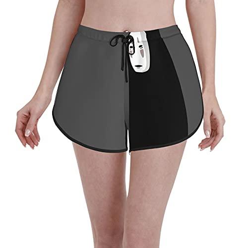 LAOLUCKY Pantalones cortos de playa de secado rápido para mujer, pantalones cortos de playa, con cordón para verano, pantalones cortos de yoga, Spirited Away Kaonashi 2, S