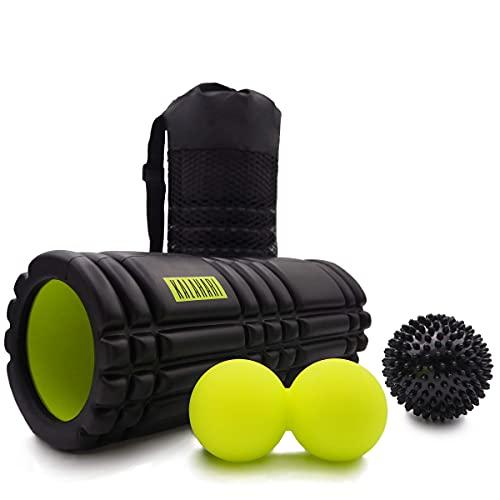 KALAHARI Foam Roller SET, 3 in 1 più Ebook esercizi in italiano - Rullo in schiuma, Palla Doppia, Riccio e comoda Borsa - Terapia Trigger Point e Massaggio Miofasciale