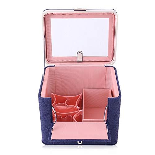 Boîte à bijoux portable de cas de cosmétique rétro, sac de stockage de grande capacité Sac de cosmétique coréen portable Boîte de rangement cosmétique avec cadeau de miroir