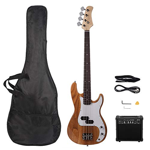 Electric Bass Guitar for Beginner, GP Electric Bass Right Handed 4 Strings 20W Bass Amp SS Pickup Bags Straps Picks Cables Wrench Tools, 4 String Bass Guitar for Starter