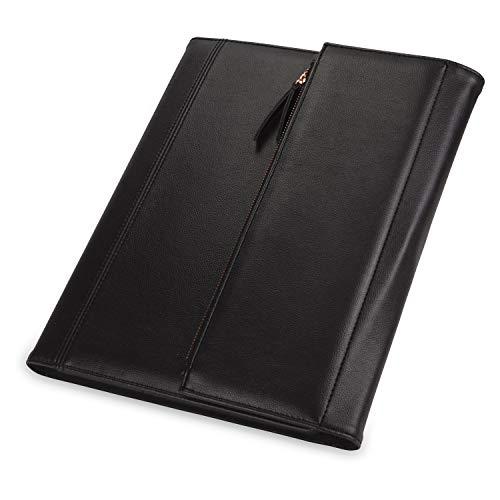 Samsill Portfólio profissional feminino/Portfólio de currículo/Caderno executivo/Portfólio de negócios para mulheres com fecho magnético com zíper rosa dourado (preto, tamanho de letra), 71830