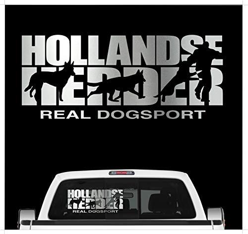 Siviwonder Auto Aufkleber HOLLANDSE Herder Hundesport Dogsport Hundeaufkleber 30cm Silber metallic