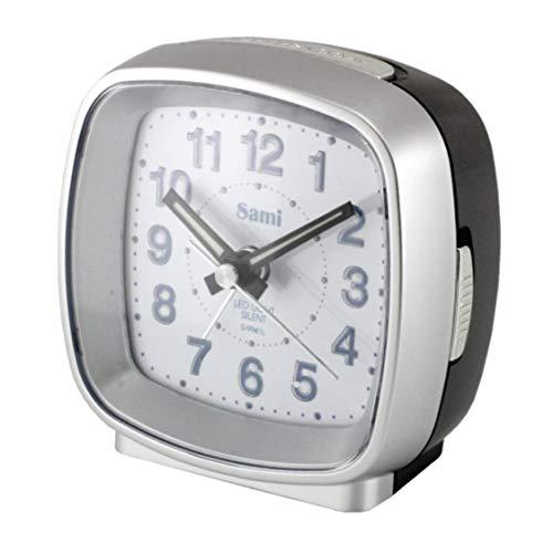 Sami Sami-S9941P wekker, vierkant, slank design, middelgroot, LED-licht, zijdelingse uitschakeling, tweekleurig, zilverkleurig