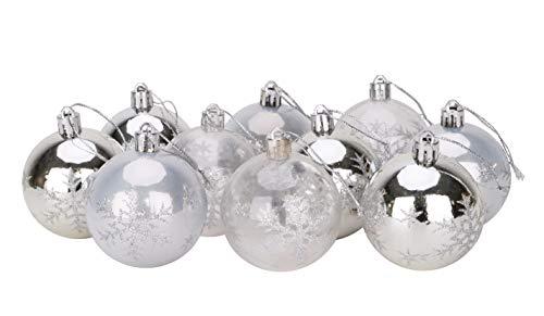 Christmas Concepts® Paquet de 10 Boules de Sapin de Noël - 60 mm - Boules décorées Brillantes, perlées et Transparentes avec Un Flocon de Neige (Blanc et Argent)