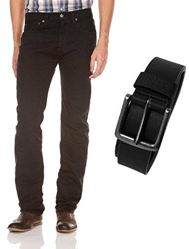 Levi's® 501® Jeans - Regular Straight Fit - Stonewash - Onewash - Marlon Wash - Black - Light Broken In mit Urban Classics Gürtel, Größe:W 32 L 36, Wash:black (00501-0165)
