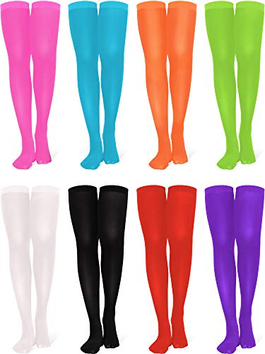 8 Pairs Women's Thigh High Nylon Stocking Opaque Thigh Stockings Halloween Cosplay Costume Party Accessory Nylon High Socks for Daily Wear