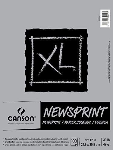 Canson XL Series - Blocco di carta da giornale, per carbone e matita, pieghevole, 13,6 kg, 20,5 x 30,5 cm, 100 fogli, 20,2 x 12 cm