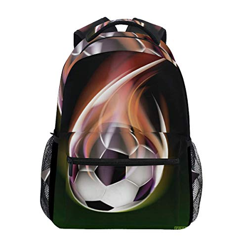WKLNM Sportrugzak Soccer Flame Casual Backpack Student School Bag Travel Hiking Camping Laptop Daypack