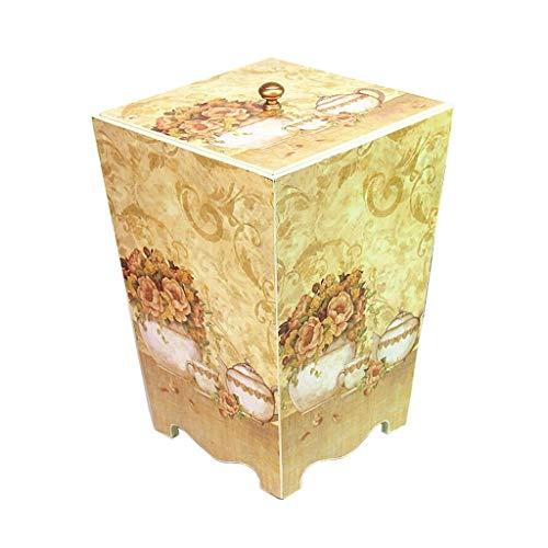 zxb-shop Bote de Basura Bote de Basura de Madera Retro idílico Dormitorio Sala de Basura Creativa Cubo de Almacenamiento Cubo 8L Cubos de Basura (Color : F)