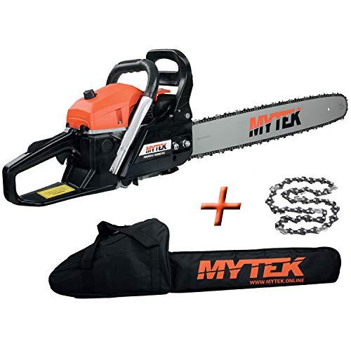 Mytek - gpsot83230 - Tronçonneuse Thermique 62cm3 avec 2 Chaines Guide 60cm et Housse