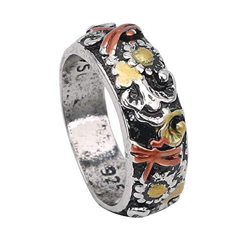 GHJUU #N/A Metal Finger Ring Sunflower Dragonfly Pattern Colorful Ring Wide Retro Elegant Finger Ring Jewelry Gift for Women Men,6#