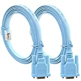 ToToT 2pcs 6FT (1.8M) Console Cable RJ45 Cat5 Ethernet to RS232 9-Pin DB9 COM Port Serial Female Routers Network Adapter Cable for Cisco Switch Router