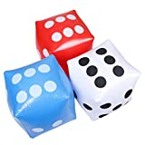 "JEVERGN 14"" Outdoor Fun Giant Inflatable Dice Set (3pk), 3 Colors Large Size for Ludo and Pool Party, Free Floor Games"