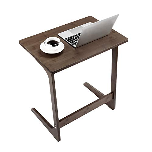 Sofa Table TV Tray, NNEWVANTE Couch Sofa End Table Laptop Desk Bamboo Coffee Table Side Table Snack Tray for Eating Writing Reading Living Room Modern Furniture Home Decor Office-Walnut
