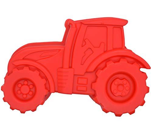 Backform Traktor, Rote Kuchenform zum Backen für Kindergeburtstag Silikonform Bulldog Motivform Silikontraktor für Kuchen, EIS, Schokolade, Brot, Dessert Pudding,besondere Form BPA frei