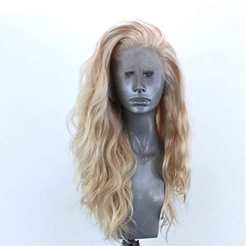 Perücke blond Anself 24 'Natürliche gewellte Perücke Frauen Dame Goldene Blonde Lockige Spitzefrontseitiges synthetisches Haar