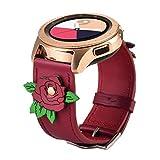 Ribivaul - Rose Pattern Correa de Repuesto Compatible con iWatch Serie 4, Mujer Piel auténtica Suave Samsung Watch de 42 mm, Correa de Repuest