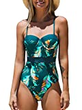 CUPSHE Women's Tropical Leafy Moulded Adjustable Straps One Piece Swimsuit, L