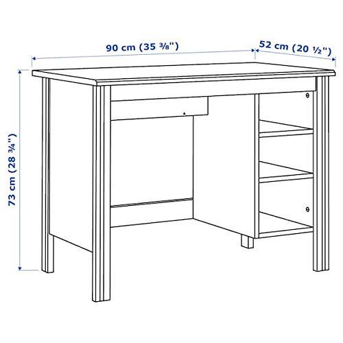 MSAMALL BRUSALI Schreibtisch, weiß, 90 x 52 cm, langlebig und pflegeleicht. Schreibtische für zu Hause. Schreibtische und Computertische Tische und Schreibtische. Möbel. Umweltfreundlich.