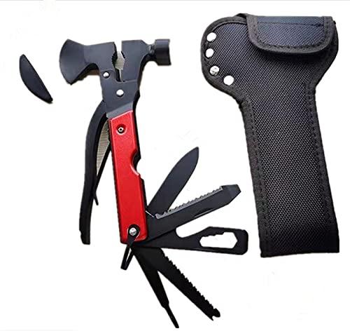 Multifunktionswerkzeug - Messer und Axt 18 in 1 Multitoolaus, Edelstahl Tragbar Survival Kit mit Zange Schraubendreher Flaschenöffner,Jagdzubehör für Camping,Geschenke für Mann