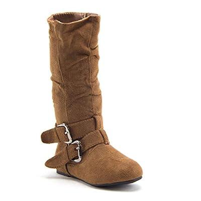 Little Toddler Girls' Bella Suede Zipped Knee High Riding Dress Boots, Tan, 3