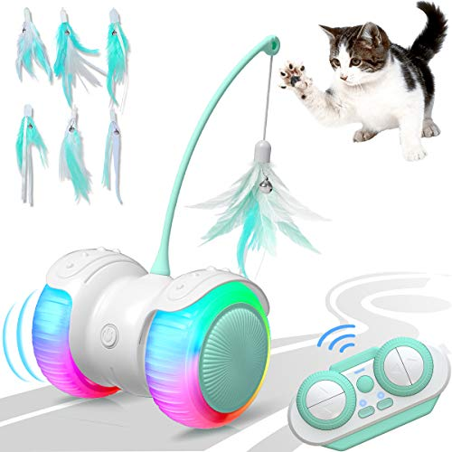 MELOPHY Interactive Cat Toy, Remote Control Cat Toys for Indoor Cats, Automatic Robotic Feather Toy for Kitten with Led Light, Rechargeable Electronic Kitty Toys Car, Carpet Available (Green)