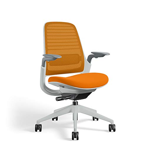 Series 1 Task Chair by Steelcase | Seagull Frame, Congent Connect Upholstery, 3D Microknit Back | Fully Adjustable Arms | Carpet Casters (Tangerine)