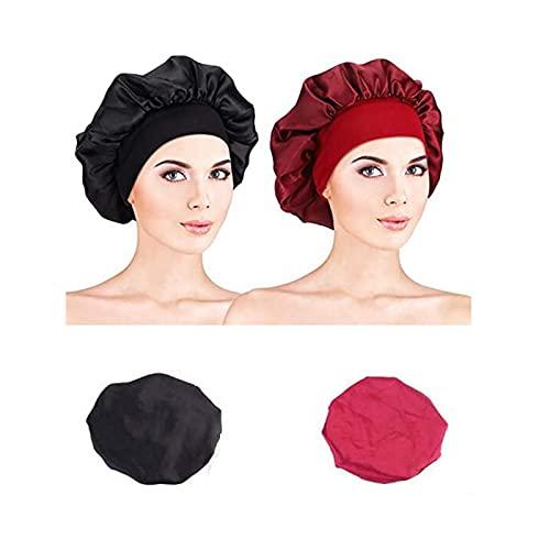 Bonnet en Satin,2 Pièces Large Bande Chapeau Cheveux Nuit pour Femmes Filles Protection des Cheveux Longs