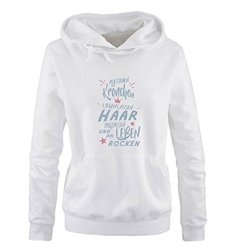 Comedy Shirts - Aufstehen Krönchen liegen Lassen Haar zerzausen und das Leben rocken. - Damen Hoodie - Weiss/Eisblau-Rosa Gr. L