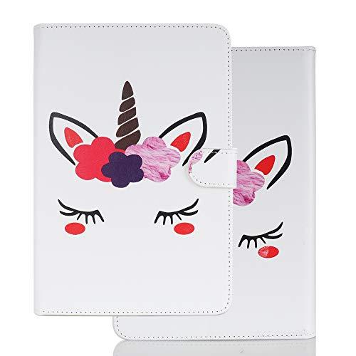 Hülle für PC Tablette Universal 10 Zoll (9.5-10.5 Zoll) - Tasche Leder Flip Hülle Etui Schutzhülle Cover für 9.6 9.7 10.1 10.2 10.4 10.5 Tablet, Einhorn