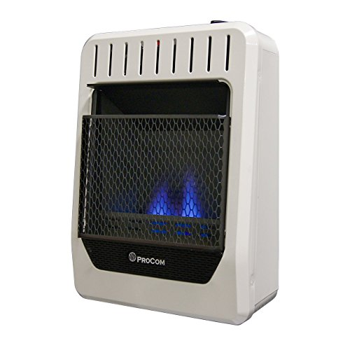 ProCom Heating Ventless INC MGH10BF 10,000 BTU Dual Fuel Blue Flame Gas Wall Heater, Medium, White