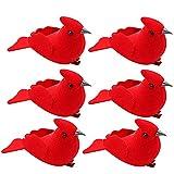 LEMCC 12 pájaros artificiales rojos con clip de 10 cm, mini plumas de...
